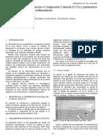 Relación entre la resistencia a compresión uniaxial (UCS) y parámetros índice de rocas intactas sedimentarias.