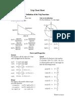 Trignometry Cheat Sheet