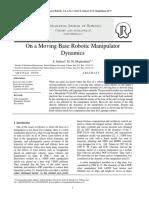 On a Moving Base Robotic Manipulator Dynamics