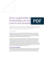 How small shifts in leadership can transform your team dynamic