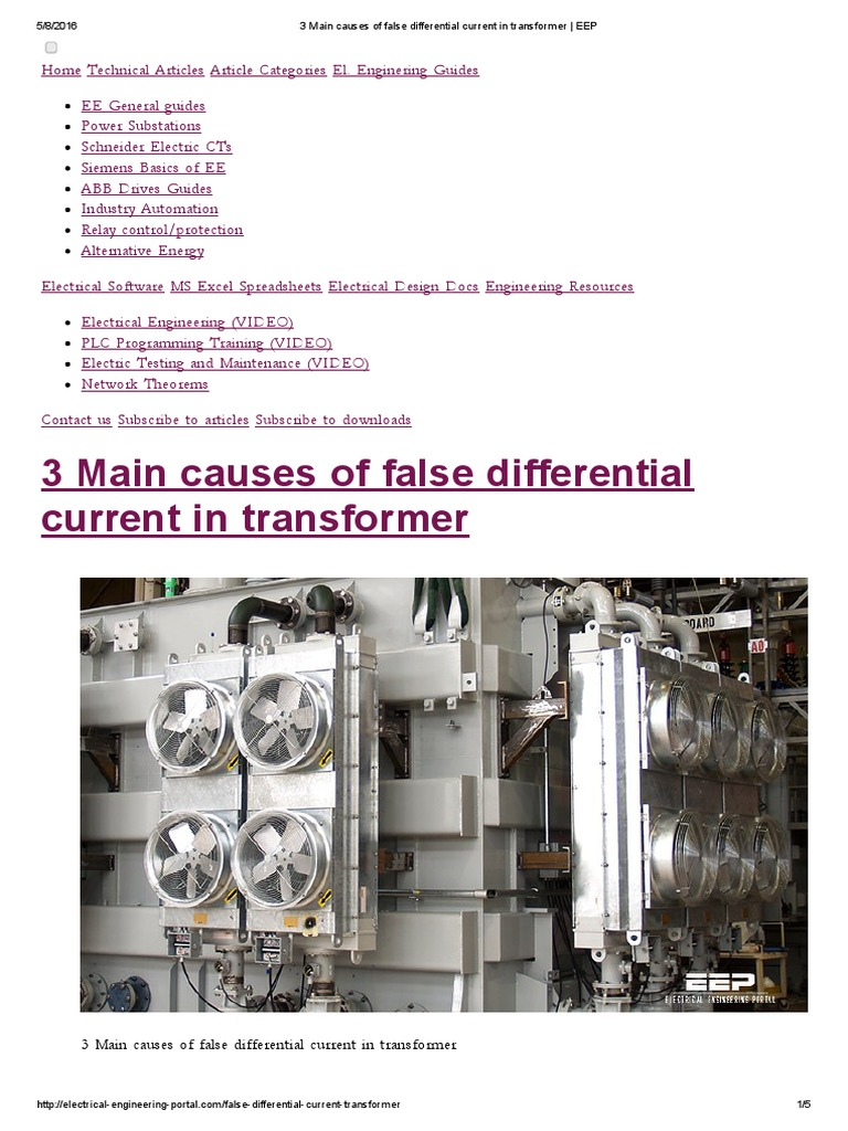 3 Main Causes Of False Differential Current In Transformer Eep Electromagnetic Relay Basics Electric