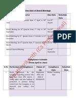 Listed Compalinces Calendar for Quartely