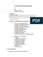 Chapter 10 Personnel Policies and Manual