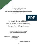 Le Moi, La Fiction Et l'Histoire (Thèse)