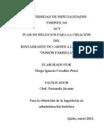 Plan de Negocios Para La Creacion Del Restaurante de Especialidades