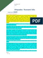 Japan Earthquake Highlighted