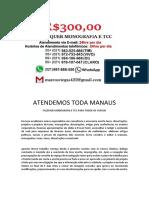 Manaus MONOGRAFIA E TCC PARA TODOS OS CURSOS R$300,00