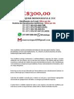 Osasco MONOGRAFIA E TCC PARA TODOS OS CURSOS R$300,00