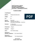 Plan Curso Filosofia de La Educacion (UNA _ Cod. 517)