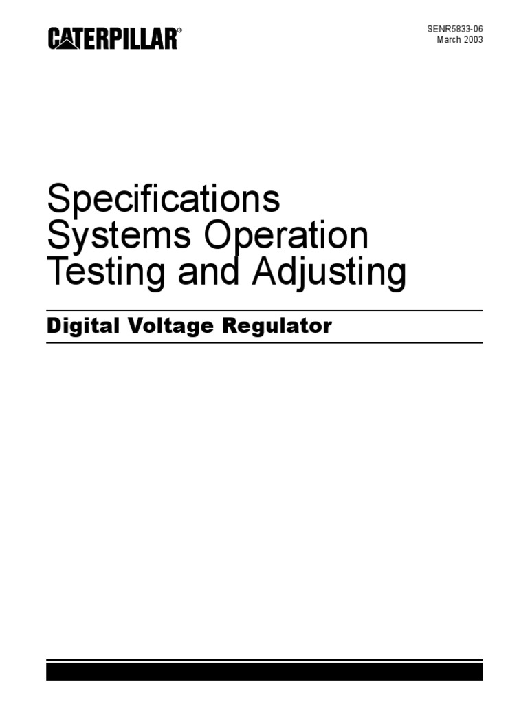 dvr manual senr5833 06 electric generator parameter computer