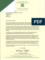 Michael Dugher Letter to Stephen Crabb