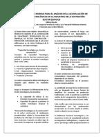Desarrollo de Un Modelo Para El Análisis de La Acumulación de Capacidades Tecnológicas en La Industria de La Costrución