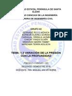 VARIACIÓN DE LA PRESIÓN CON LA PROFUNDIDAD