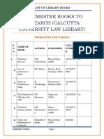 9th Semester Books to Research (CALCUTTA UNIVERSITY LAW LIBRARY)