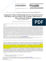 Comparative Study of Relationship Between General Perceived Self-efficacy and Test Anxiety With Academic Achievement of Male and Female Students