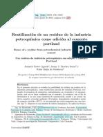 Reutilización de un residuo de la industria petroquímica como adición al cemento portland