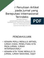 Standar Publikasi Artikel Ilmiah Yang Bereputasi Internasional Wasmen