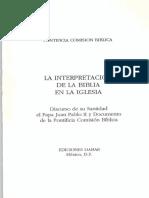 Pontificia Comisión Bíblica, La Interpretación de La Biblia en La Iglesia, Vaticano 1993