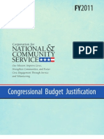 CNCS 2011 Congressional Budget Justification ||  Corporation for National and Community Service CBJ 2011