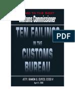 Ten Failings of the  Customs Bureau