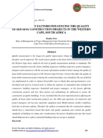 An Analysis of Factors Influencing the Quality of Housing Construction Projects in the Western Cape South Africa