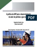 A política da ANP para o desenvolvimento da indústria de petróleo nacional