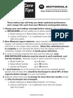 Motorola Radio Battery Care Tips  Card