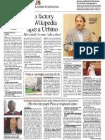 La Factory di Wikipedia a Urbino - Il Resto del Carlino del 15 maggio 2016