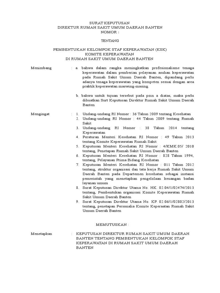 tugas komite keperawatan - Format Resume Keperawatan Doc