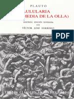 294302765 Plauto Aulularia La Comedia de La Olla Ed Anotada v J Herrero