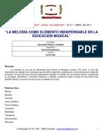 La Melodia Como Elemento Indispensable en La Educación Musical