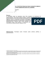 Tecnologia Social e Políticas Públicas para o Desenvolvimento