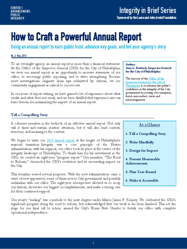 How to craft a powerful annual report capi issue brief infographics narrative