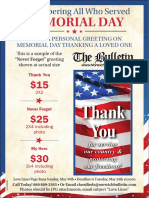 Place a personal greeting in The Bulletin on Memorial Day