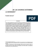 Serrano Inversióndeterminaahorro