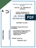 Informe de Lab de Tecnologia de Metales No Ferrosos