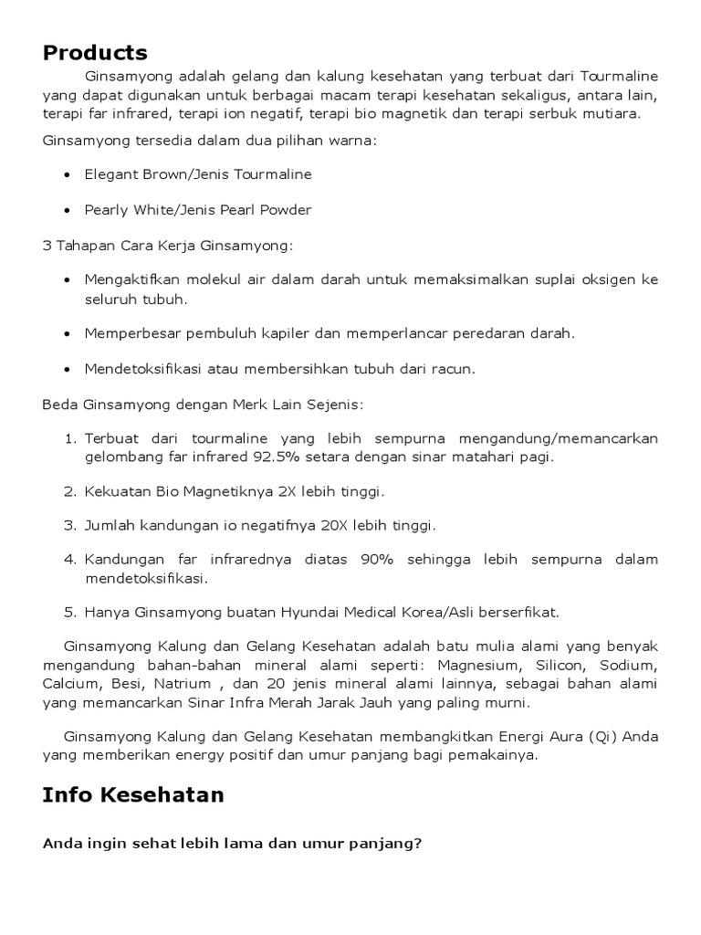 Manfaat Ginsamyong Kalung Kesehatan Original