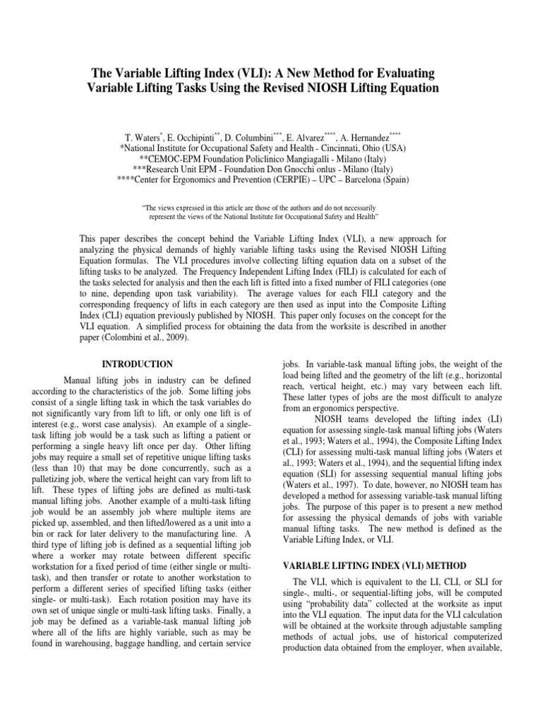 2  the Variable Lifting Index (VLI)   Sampling (Statistics