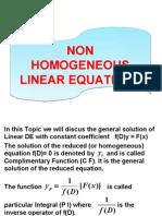 Non Homogeneous Linear Equations