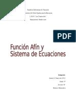 Función afín y Sistema de Ecuaciones