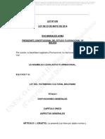 Ley N 530 Del Patrimonio Cultural Boliviano Spanish