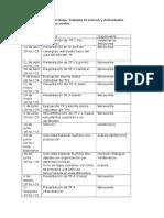 Cronograma de Parciales, Practicos y Act. Especiales 2015