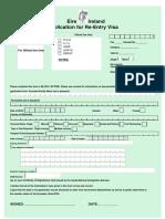 Reentry Visa App Form