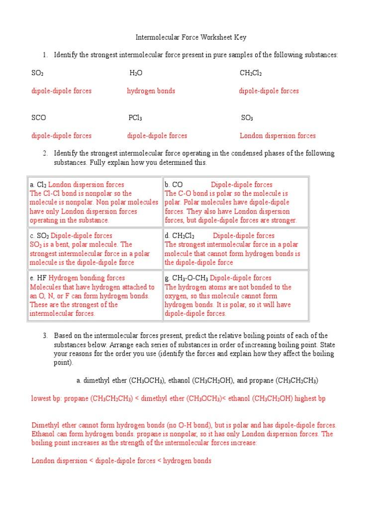 115 Intermolecular Force Worksheet Key (1)   Chemical Polarity ...