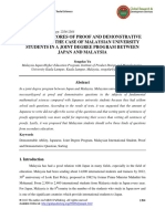 A Study on Scores of Proof and Demonstrative Questions the Case of Malaysian University Students in a Joint Degree Program Between Japan and Malaysia