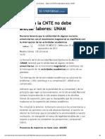 El Universal - - Apoyo a La CNTE No Debe Afectar Labores_ UNAM