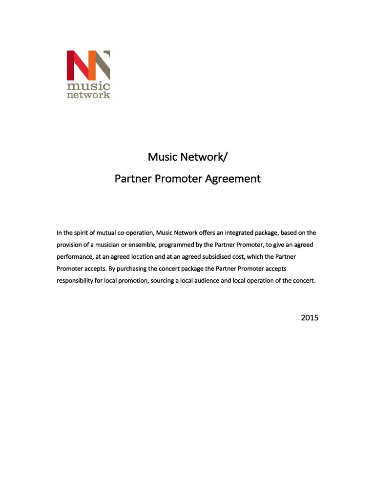 Music Network Partner Promoter Agreement 2015 Concert Mass Media