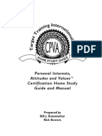 CPVA - Personal Interests, Attitudes and Values - Certification Home Study Guide Manual; Bonnstetter
