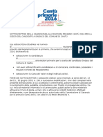 Modello di Raccolta delle sottoscrizioni a sostegno della candidatura per le primarie aperte del centrosinistra a Cantù (CO), 13.11.2016
