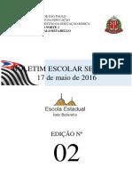 Boletim Semanal nº 02 - 17/05/2016